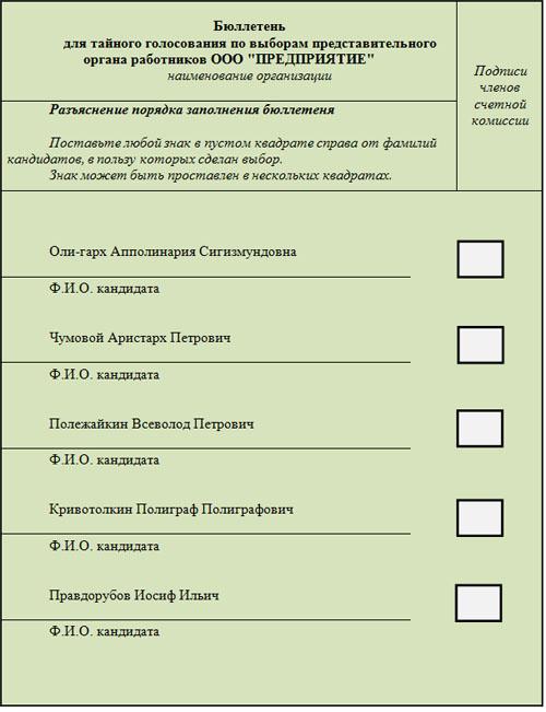 Пример бюллютени для тайного голосования по выборам представительного органа работников